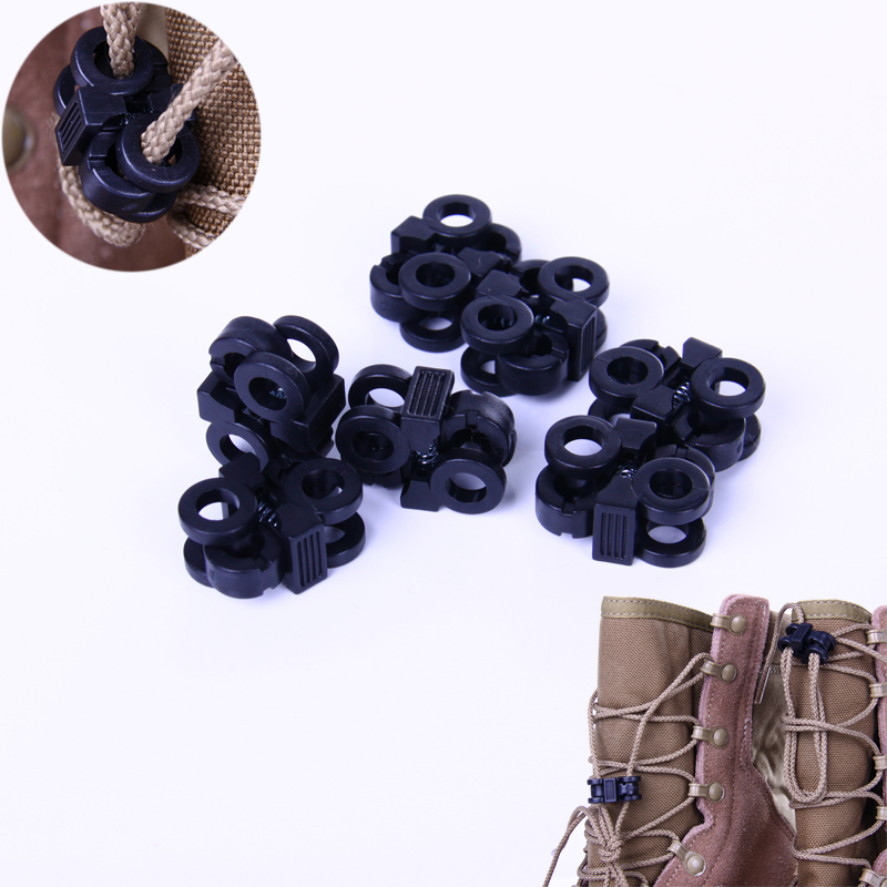 100 pcs 4mm Sports Shoelace Shoe Lace Stopper Rope Clamp Buckle Paracord Cord Lock(China (Mainland))