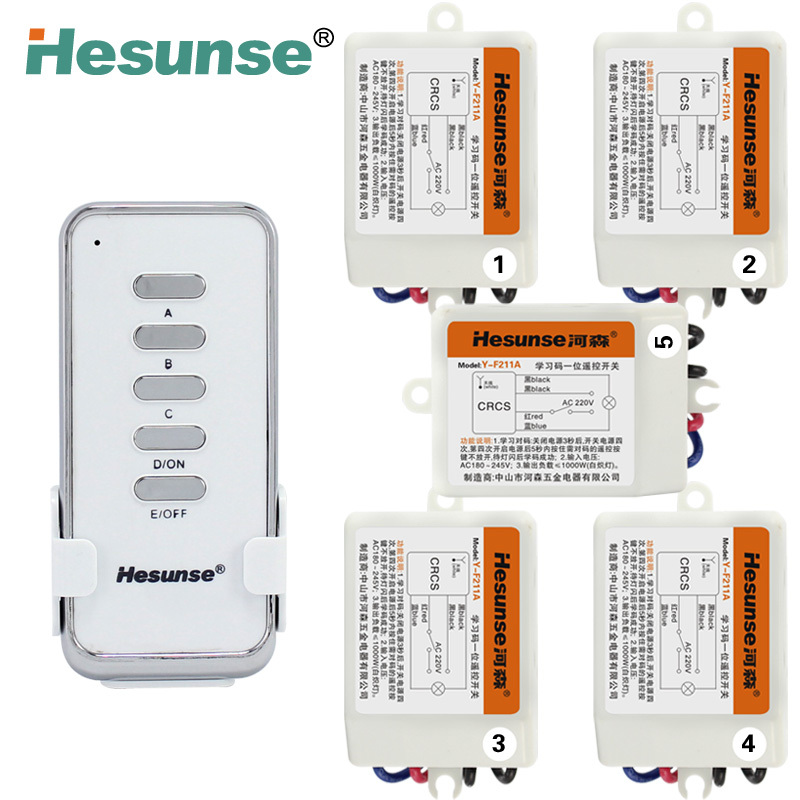 Y-F211A1N5 Hesunse 220V Five Ways Digital RF Wireless Remote control Switch with Remote Control Light Switch 110V(China (Mainland))