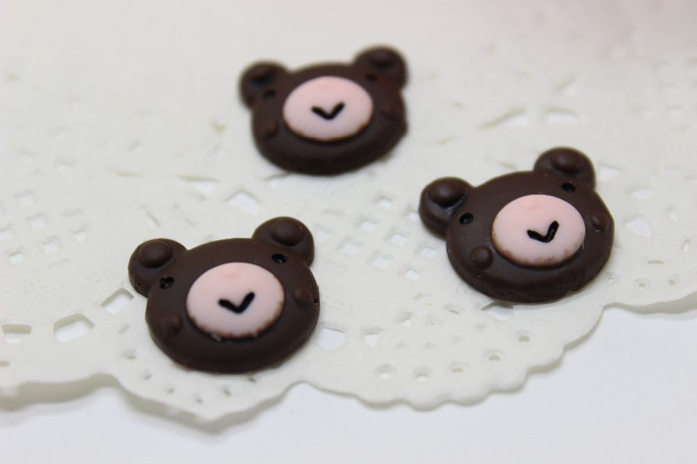50Pcs/lot 18mm resin food chocolate cartoon Little bear cookie Resin kawaii Cabochons Flatback Cabochon for phone deco(China (Mainland))