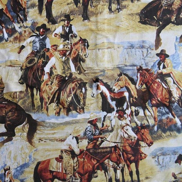 100x110cm Export Western Cowboy Plain Patchwork Cotton Fabrics telas Vintage Cloth for Cushion Pillow tecidos Sewing Material(China (Mainland))
