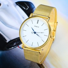 Simple Silver Gold Women Watches 2015 Fashion Elegant Quartz Watch Mesh Steel Dress Watch Women Wristwatch
