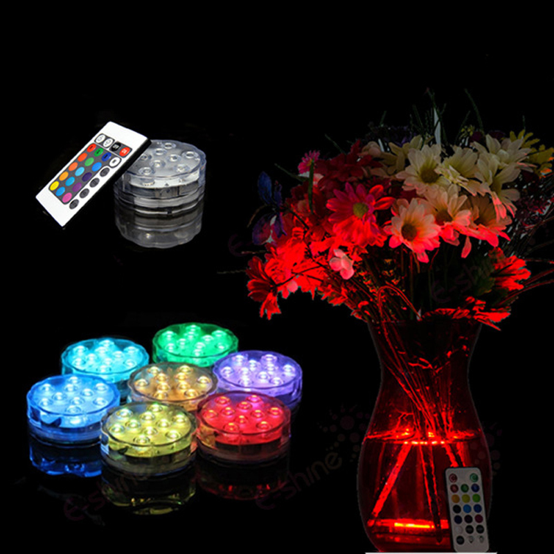 Remote Contorl 10 LED Colorful Rotation Submersible Waterproof Party Decoration Vase Base Light for Christmas Wedding Party(China (Mainland))