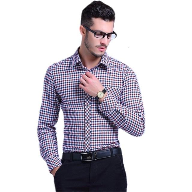 Британский стиль мужские клетчатые рубашки хлопок клетчатая рубашка новинка лето ...