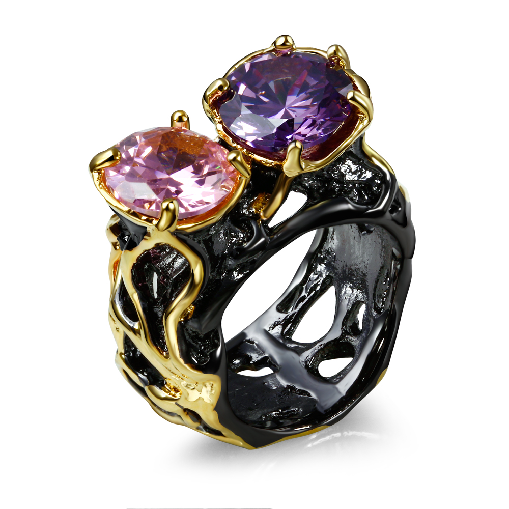 Spectacular Ring Gold and Black Ring Personal Tailor Ring AAA cubic pink/Amethyst cubic zirconia Luxury Rings(China (Mainland))