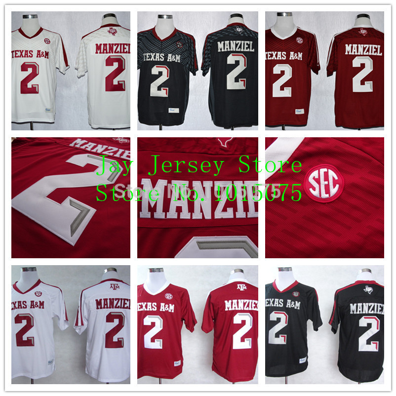 2015 Cheap Johnny Manziel Texas A&M Aggies Jersey College Football Jerseys White Red Black Stitched(China (Mainland))