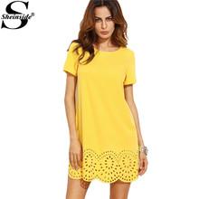 Buy Sheinside Designer Dresses Women Mini Dresses Fall Fashion Shift Dress Yellow Short Sleeve Hollow Hem Shift Dress for $13.98 in AliExpress store