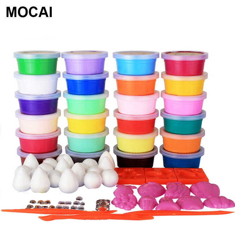 24 Colors Play Doh Intelligent plasticine Kids toys DIY Polymer Magnetic clay Soft Clay Blocks plasticine play up polymer clay(China (Mainland))