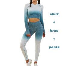 Conjunto de Yoga para mujer Ombre mallas sin costuras pantalones de gimnasio Sujetador deportivo Fitness de manga larga Crop Top ropa de entrenamiento traje de correr ropa deportiva(China)