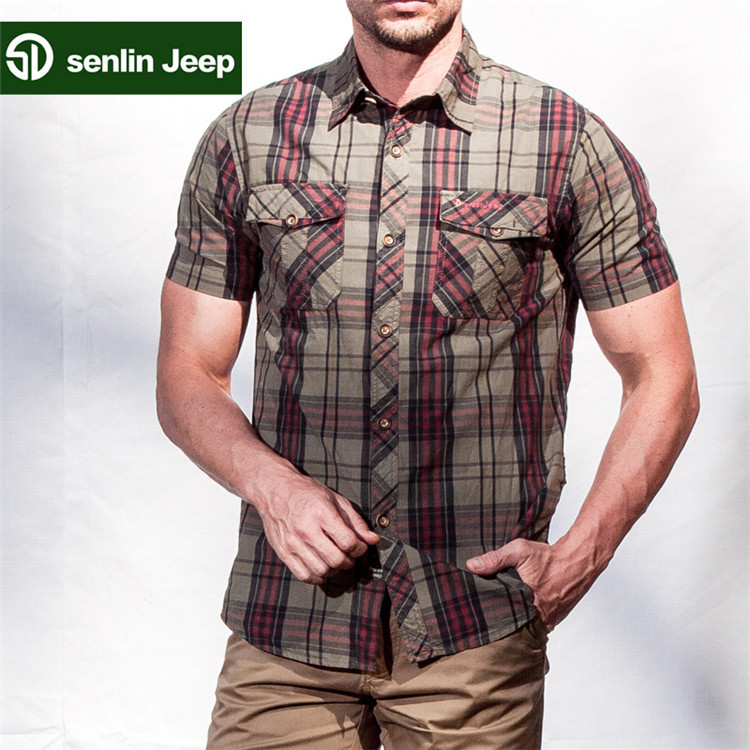 New Brand Outdoor Shirts Men Casual Cotton Camo Short Sleeve Top Tee Clothing T4 - Hard-working people store
