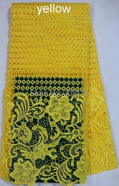!!new fashion style yellow african cord lace fabric guipure party wedding dress - Shaoxing Five-Star Embroidery Co., Ltd. store