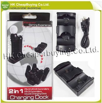 High Quality 2 in 1 USB Dual Charging Stand Dock for PS3 Black,Free Shipping/Dropshipping,#SKU0219