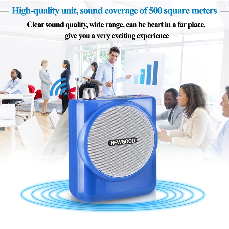 FM Radio 35W Portable Voice Amplifier Booster Loudspeaker with Microphone for Teacher Coach Black Red Blue F202