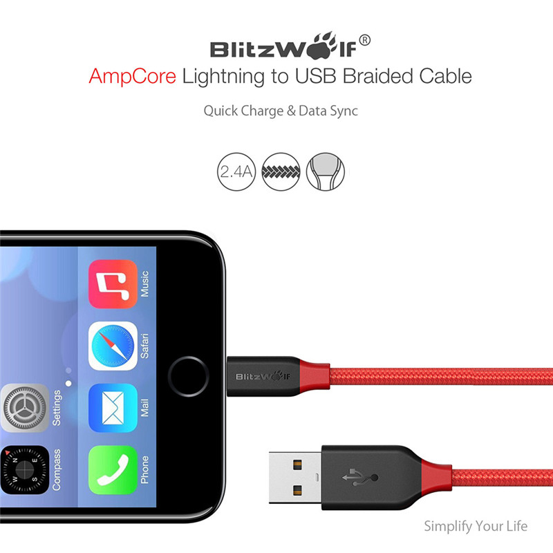 BlitzWolf For iPhone Cable USB Cable For iPhone 7 6s 6 Plus 5 SE For iPad For Apple Mobile Phone Cables Phone Charger Data Cable