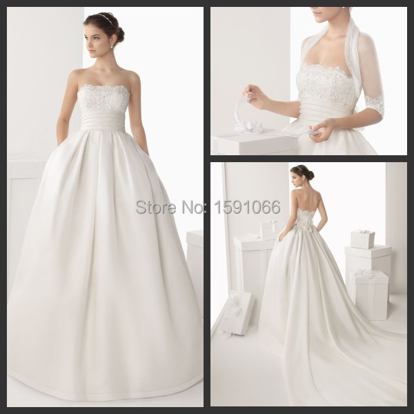 Strapless ball gown wedding dresses with pockets 2015 spring zipper