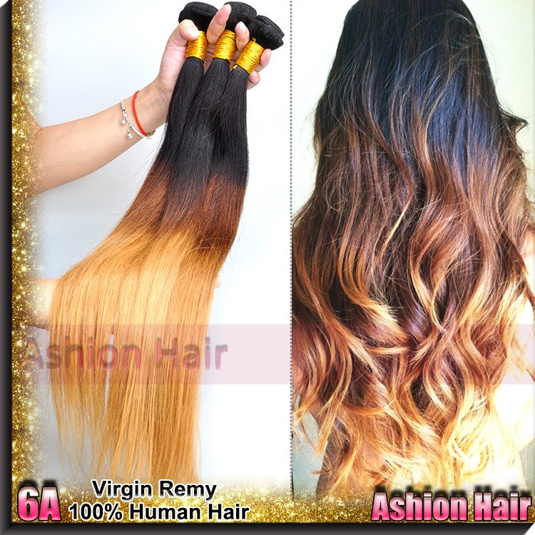Здесь можно купить  AS 6A Peruvian Ombre Hair Straight ,Silk Peruvian Straight Hair Weaves ,3pcs Three Tone 1b#/4#/27# Peruvian Ombre Virgin Hair  Волосы и аксессуары