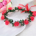 2016 New Princess Woman Hair Accessories Bridal Wedding Headdresses Hair Flower Crown Hair Wreath Rose Bohemian