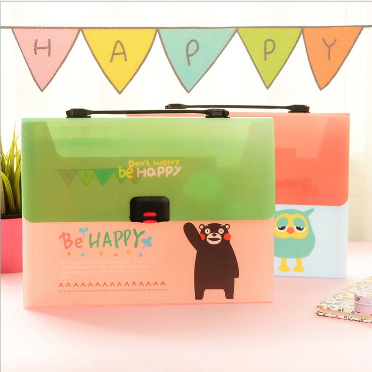 """Be Happy"" 1 pc 13 Index Pockets Layers Document File Folder Expanding Wallet Study Organizer(China (Mainland))"
