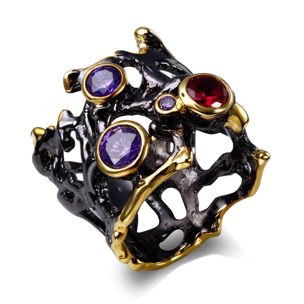 Classic unique design Jewelry Black and gold plate ring AAA ruby & Amethyst cubic zirconia Cocktail rings(China (Mainland))