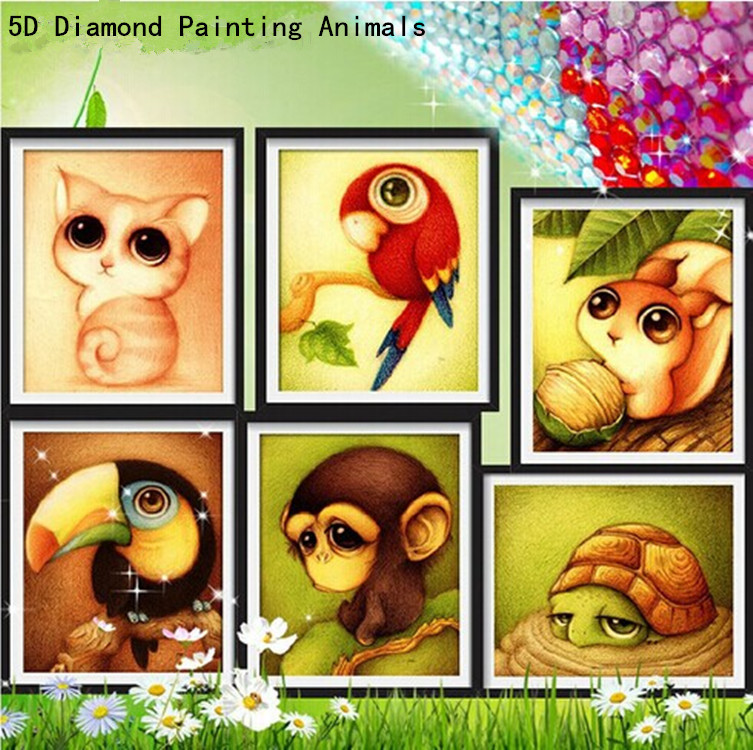 5D diy diamond painting child cartoon animal picture needlework cross stitch round rhinestone drill diamond embroidery crafts(China (Mainland))