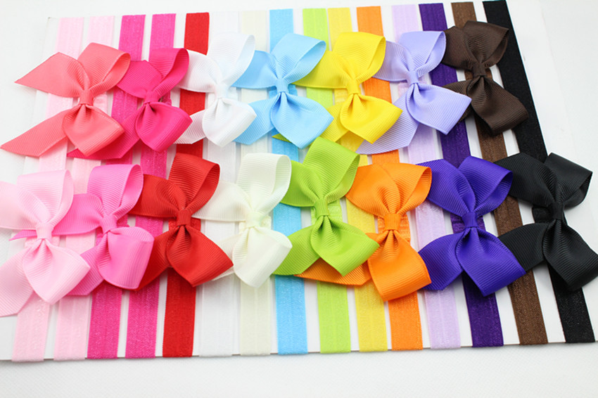 Retail 6pcs/lot infant Baby hair bows Large Bows Headband for Baby girl Hair Accessories elastic headbands Toddler hairbands(China (Mainland))