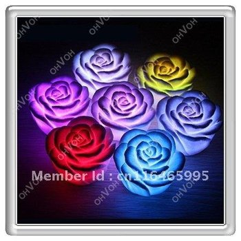 Wedding Party Rose Flower Grow LED Night light Candle Home House Decorations
