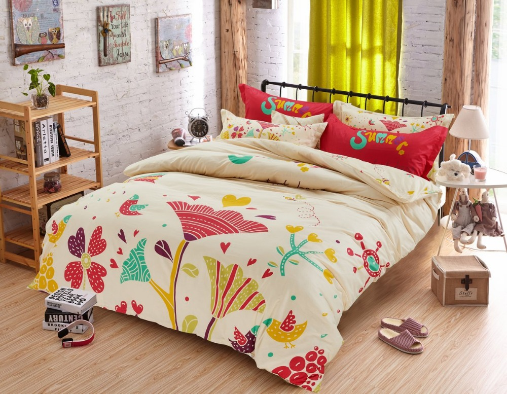 New Arrival 100 Cotton Full Twin Size Comforter Sets Bed Sheet 3 4 Pcs Colorful