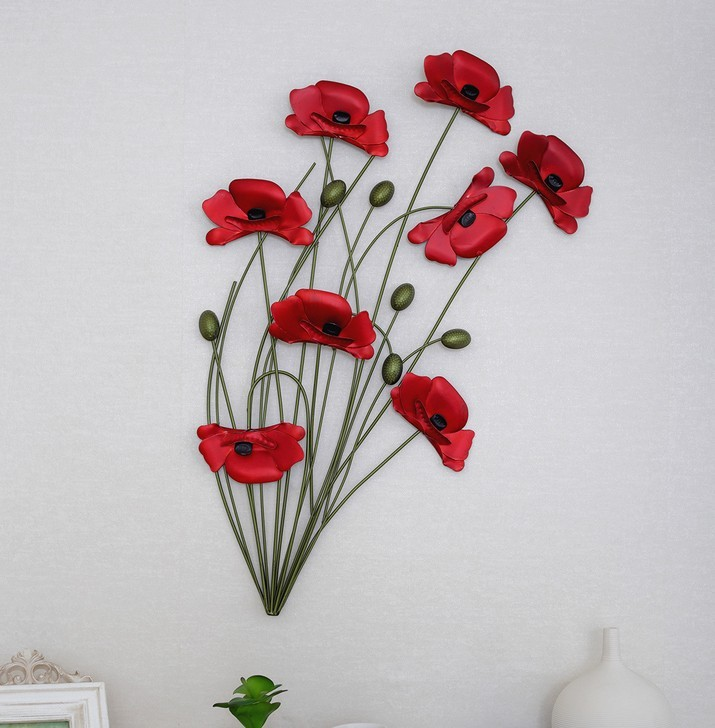 Modern home decoration metal wall art hand made red poppy for Metal flower wall art