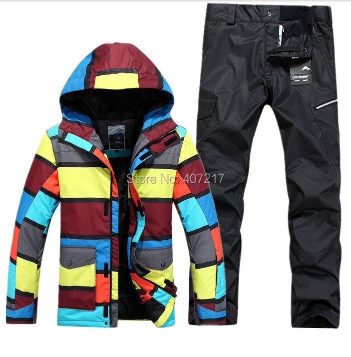 2015 mens insulation snowboarding suit male ski suit set stripe jacket and black pants skiwear waterproof 10K breathable warm(China (Mainland))