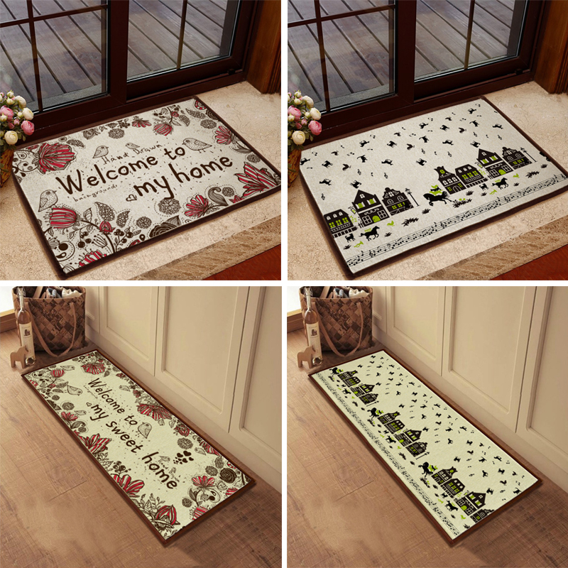 Country style welcome rug doormat kitchen stair carpet for Country style kitchen rugs