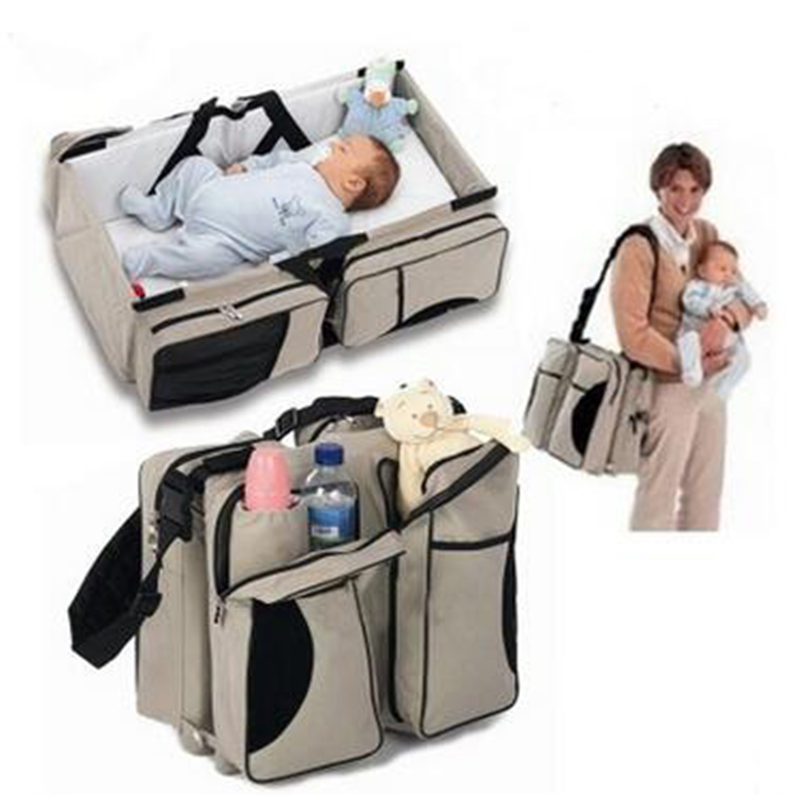 2016 hot multifunction Mummy nappy bags baby bags for mom portable folding travel cot mother diaper changing bag for baby care(China (Mainland))