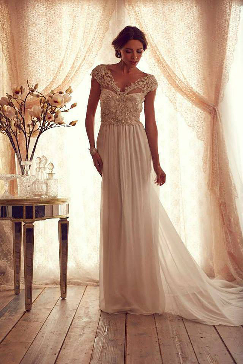 Vintage wedding dress with pearls appliques elegant beach for Wedding dress images free