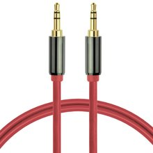 Free Shipping Audio Cable 3.5mm Male To Male AUX Cable Stereo Audio Cable for Samsung Mobile Phone and Cellphone Red / Black