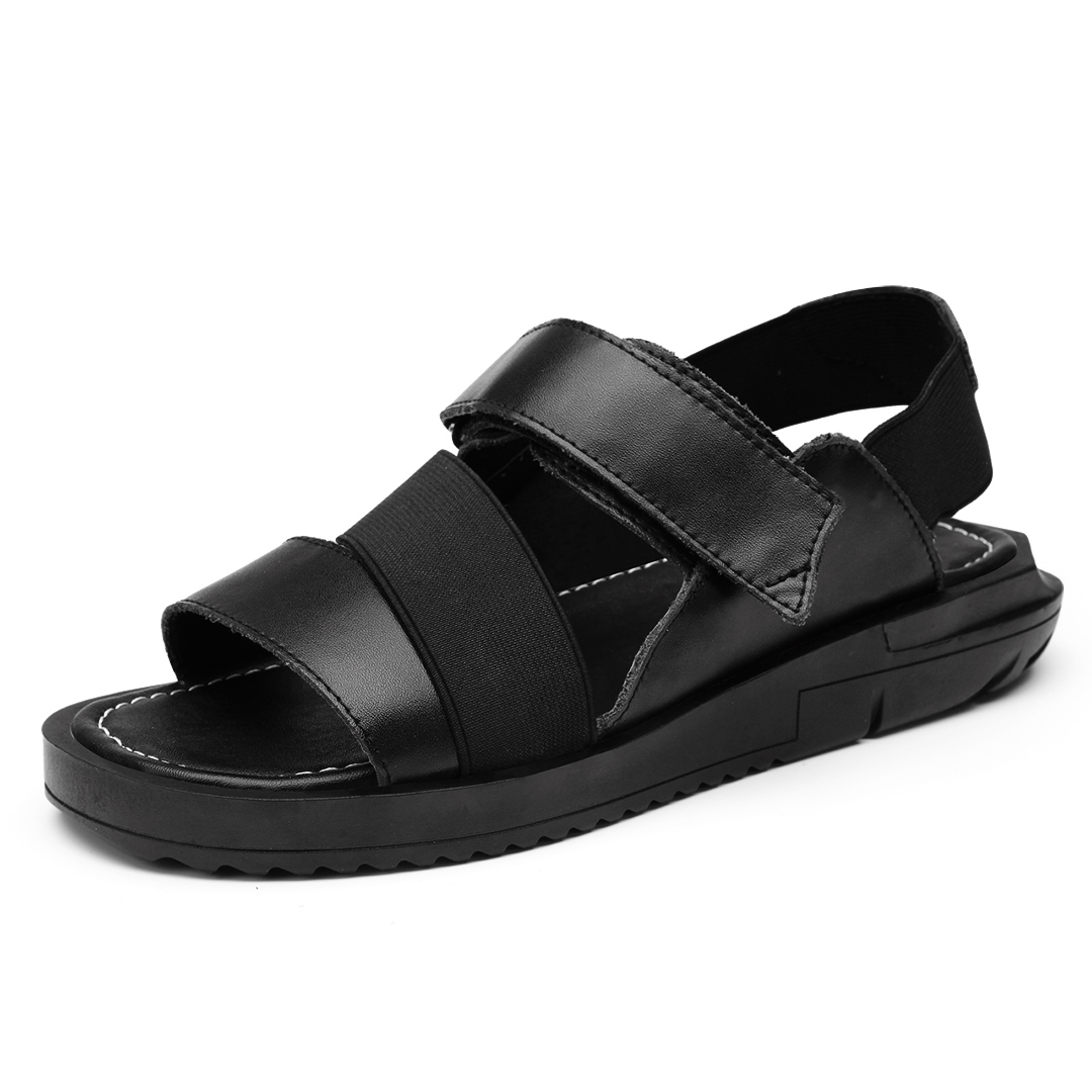 Black enclosed sandals - Best Selling Sandals Korean Style Men Rome Beach Shoes Breathable Open Toes Flat Heels Cool Slippers
