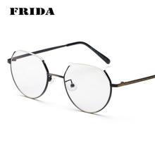 FRIDA New Fashion Trimming Cut Metal Frame Plain Glasses Brand Design Vintage Eyewear Frame Eye Glasses Frame Oculos De Grau