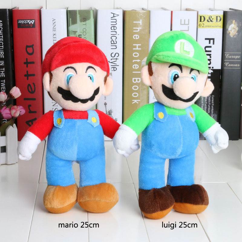 1Piece 10'' Super Mario Luigi Plush Toys Super Mario Bros stand mario brother Stuffed Toy Soft Dolls For Children High Quality(China (Mainland))