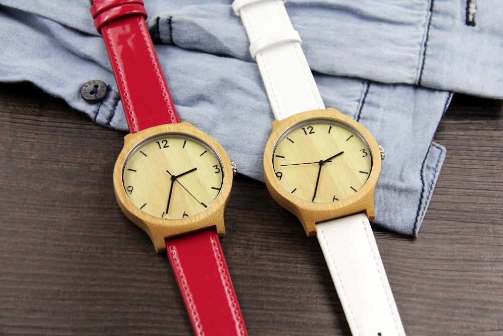 Женщины япония движение Мода Бамбук Дерево Часы с Кожаный Ремешок Для леди Подарки