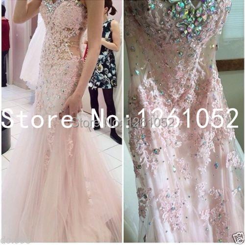 Привлекательный стиль! изящные розовый бисером милая русалка длиной до пола длинные платья выпускного вечера с аппликация на заказ