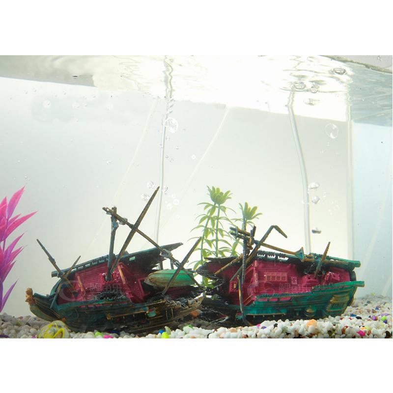 Resin split shipwreck fish tank decoration aquarium for Split fish tank