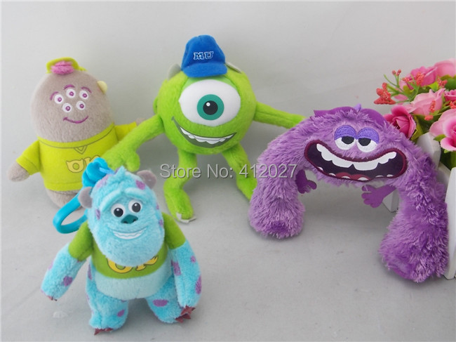 Monsters University Sulley/ Mike/ Art / Squishy Keychain Plush Toy 4PCS Clip your backpack(China (Mainland))