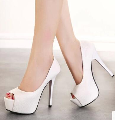 2015 New Sweet White Wedding Shoes Red Bottom High Heels Platforms Peep Toe Women Pumps Bridal Shoes Woman Pink Black(China (Mainland))