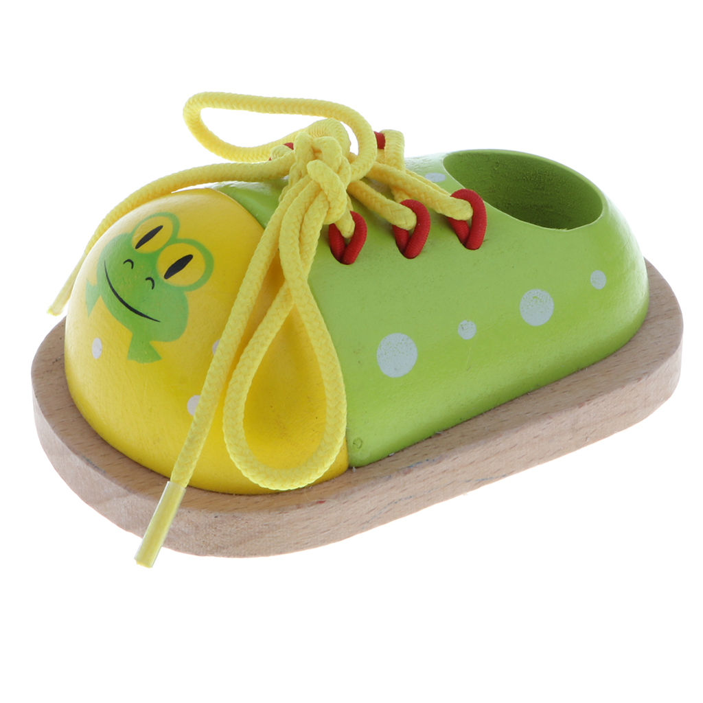Wooden Shoelace Lacing Tie Shoes Learning Basic Life Skills Practice Educational Toy for Kids Baby –Green