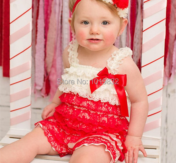 Ivory/Red Lace Romper, From Newborn 6 Years, Girls Romper