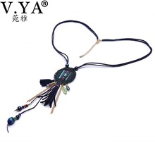 V.YA Women's Feathe Necklaces Summer Jewelry Bohemia Style Woman's Boho Chain Necklaces Amazing Pendant Necklace with Leather(China (Mainland))