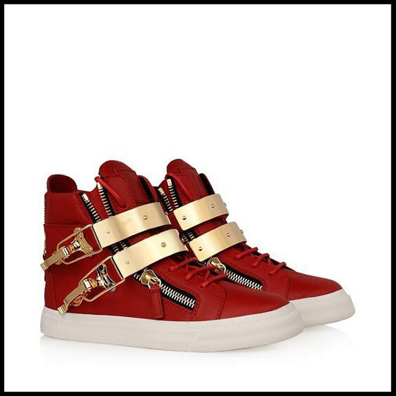 2015Big Brand newest fashion genuine leather flat heel red Sequins leisure buckle high-top zip sneakers shoes women men
