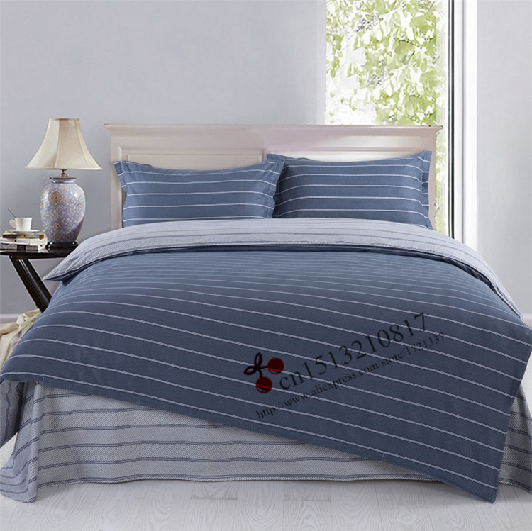 High Quality 4pcs 40s 100 Cotton Bed Sheet Gray Streak