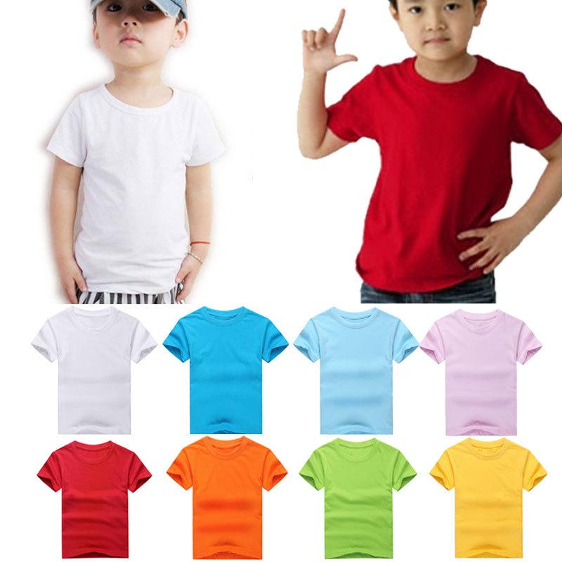 Fashion New Kids Cute Size S M L XL XXL XXXL 9 Color Childrens Boys Girls Plain T Shirt Cotton Shirts(China (Mainland))