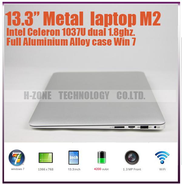 Free shipping 13.3 Inch Ultra Thin laptop computer Aluminium Metal Case 4G RAM 128G SSD Celeron 1037U Dual-core 1.8Ghz WIFI HDMI(Hong Kong)