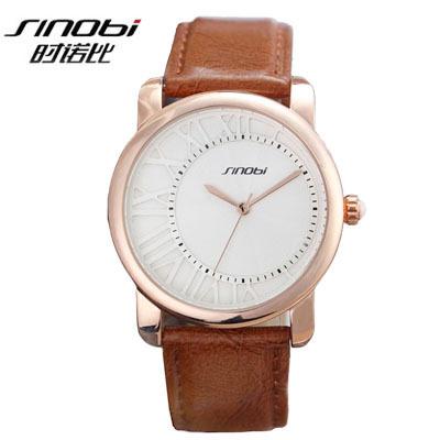 2015 New SINOBI Watches Luxury Brand Leather Strap Watch for Men Ultra-thin Quartz Analog Military Watch Waterproof Wristwatch<br><br>Aliexpress
