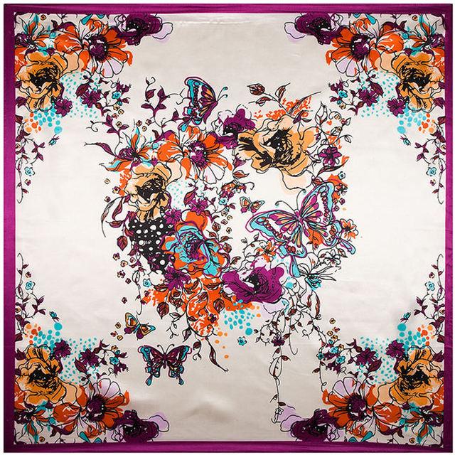 90 см * 90 см бабочка и ручная роспись женщины шелковый атлас большой косынка