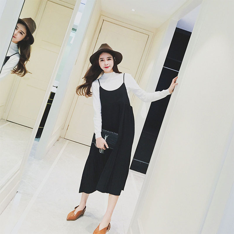 2016 GAMISS New Arrival Fashion Woman Strap Dresses Flare Pleated Dress Sleeveless Smock Dress Adjustable Shoulder Long Dress(China (Mainland))